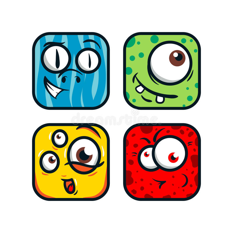 Square cartoon monsters. Funny monsters face. Handdrawn monsters vector illustration