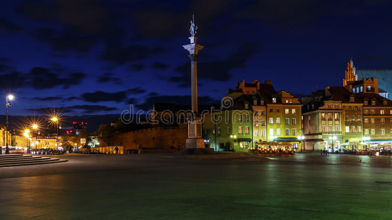 Square Castle and Sigismund's Column. At night royalty free stock photos