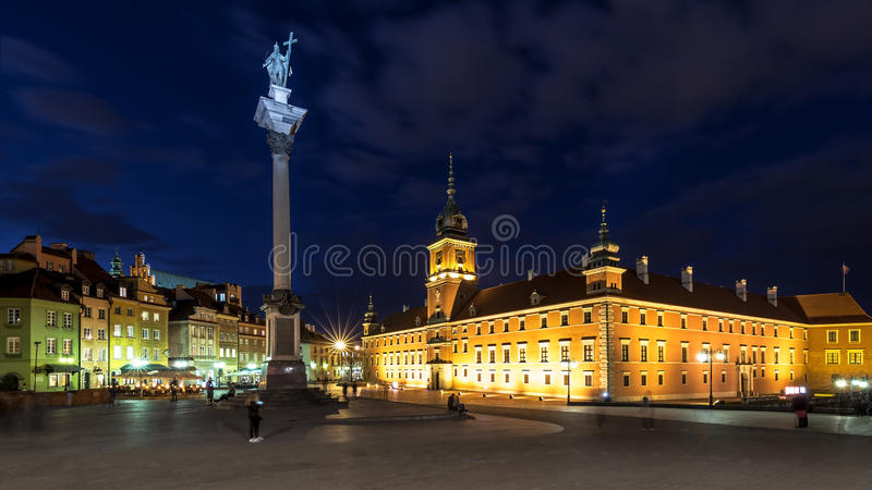 Square Castle and Sigismund's Column. At night stock photography