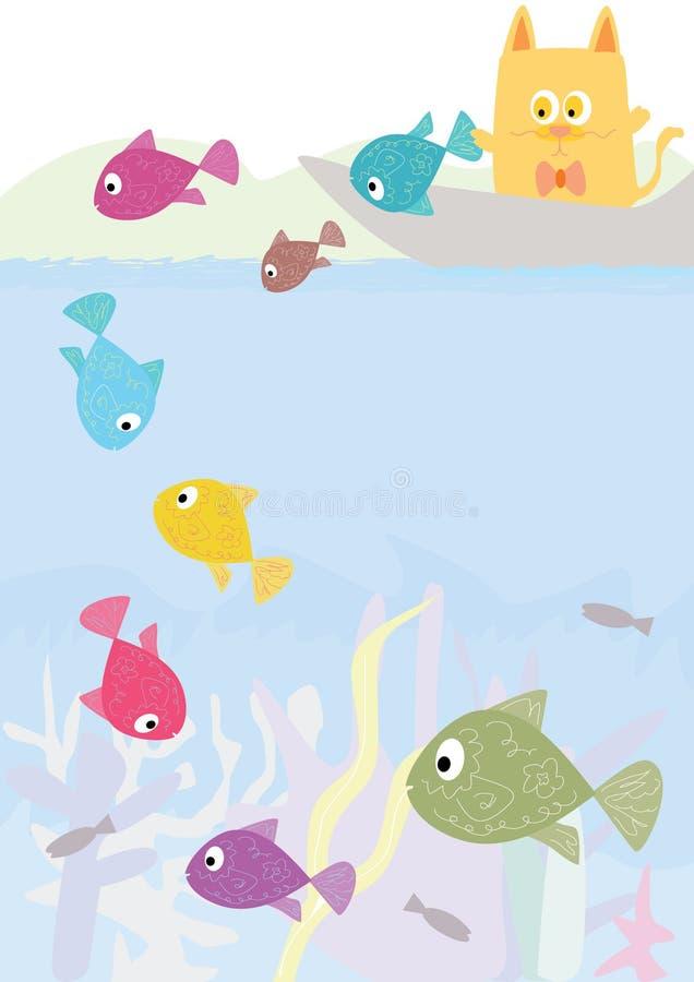 Square Cat Let Fish Go_eps vector illustration