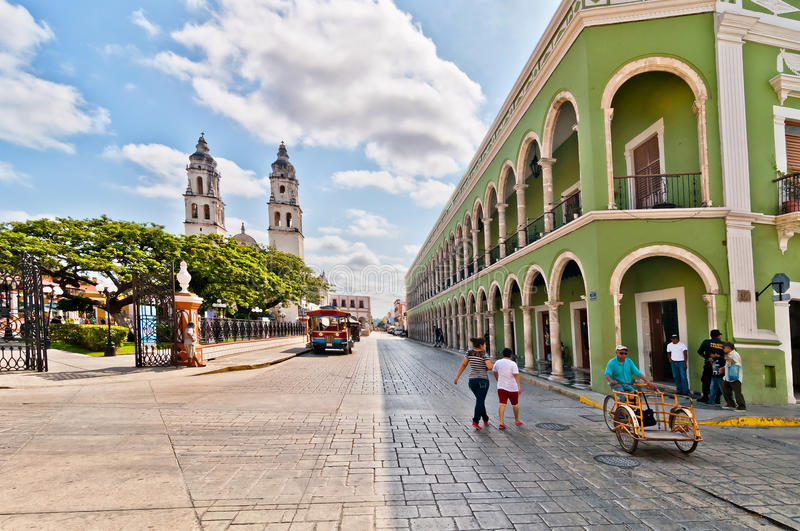 Square and Cathedral in Campeche, Mexico stock photography