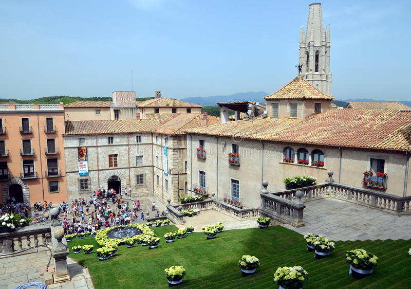 The square of cathedral of Girona during annual Flower Festival stock images