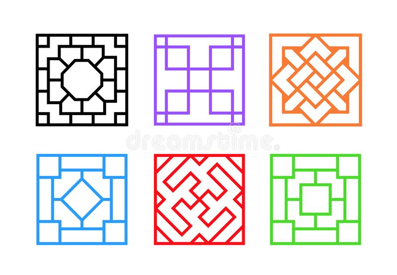 Square Chinese window frame in flat vector art. Design stock illustration