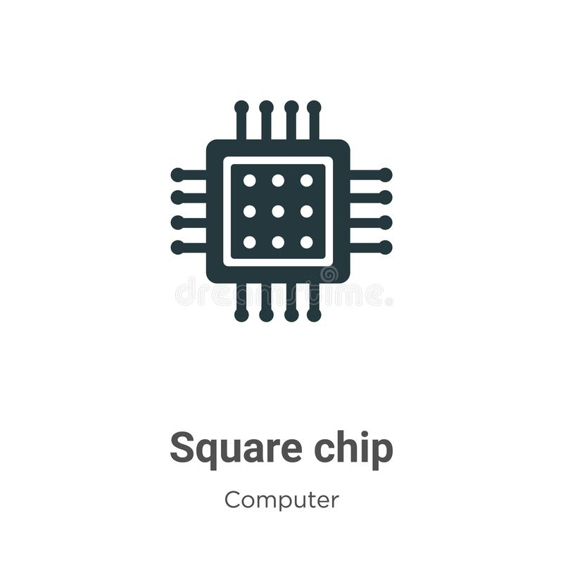 Square chip vector icon on white background. Flat vector square chip icon symbol sign from modern computer collection for mobile vector illustration