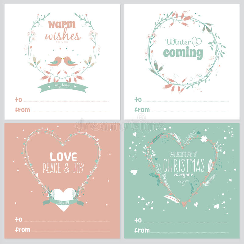 Square Christmas and New Year greeting cards royalty free illustration