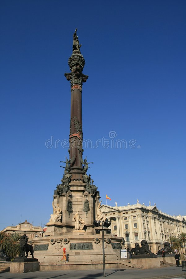 Square Christopher Colombus. View of the monument. Barcelona, Spain royalty free stock photography