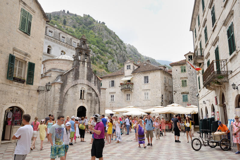 Square and church of Saint Luke in Kotor, Montenegro. KOTOR, MONTENEGRO - JULY 9: Square and church of Saint Luke on July 9, 2014 in Kotor, Montenegro. The stock images