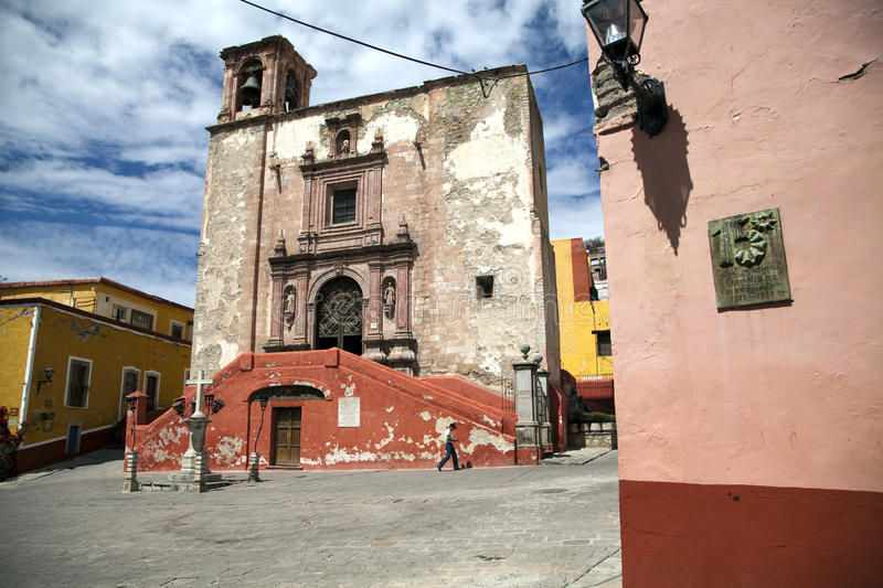 Square and Church of San Roque Guanajuato royalty free stock photo