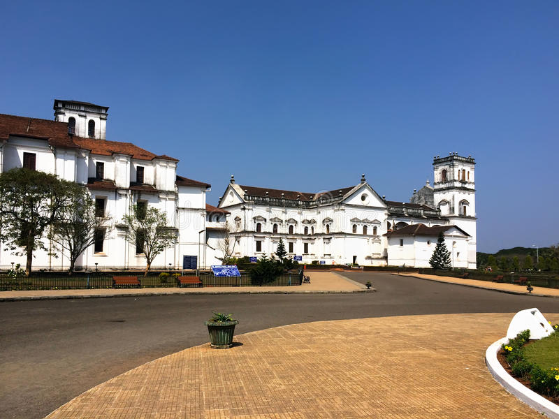 Square and churches in Old Goa,. India stock photos