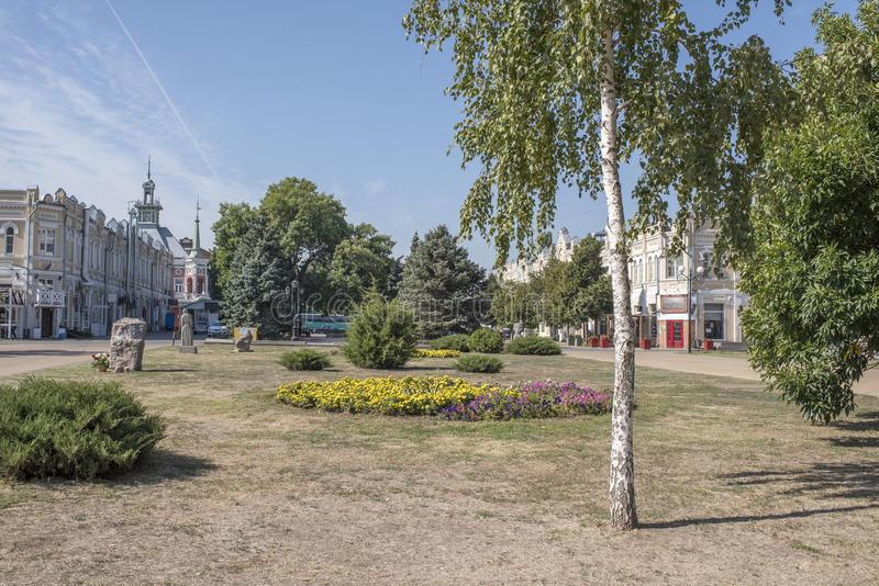 Square in the city of Azov, Rostov Region, Russia. 2015 royalty free stock photography