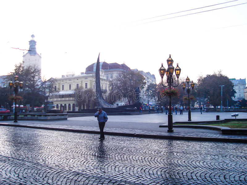 Square in the city center. LVIV UKRAINE stock images