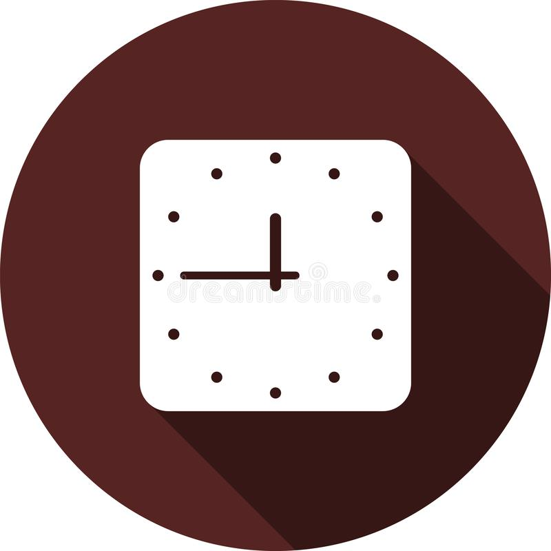 Vector image. Icon square watches on round maroon. Square clock icon on a circle of maroon color, vector image stock illustration