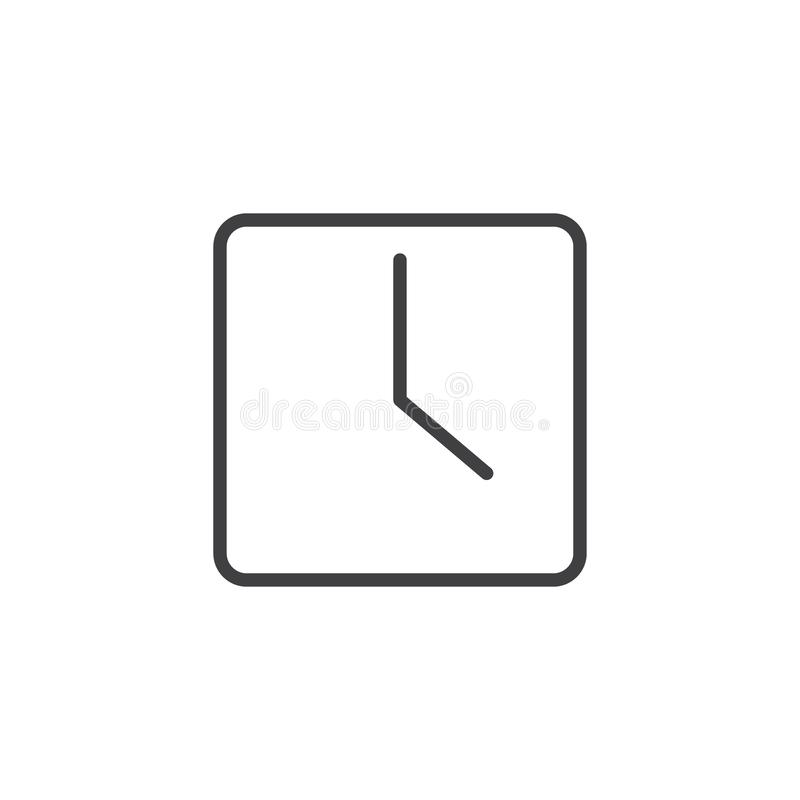Square clock outline icon royalty free illustration