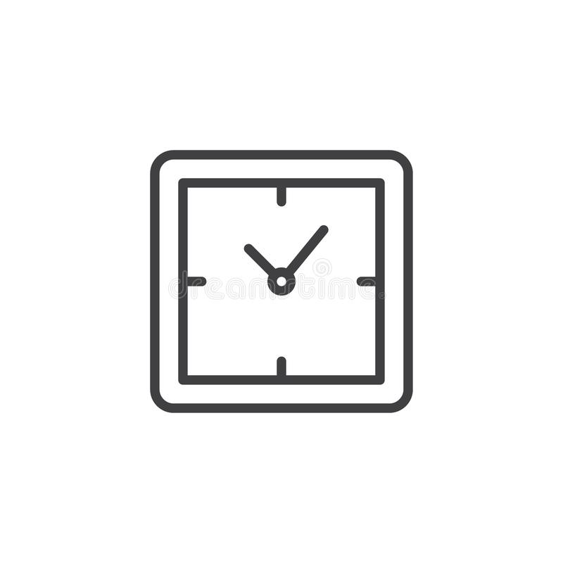 Square clock outline icon vector illustration