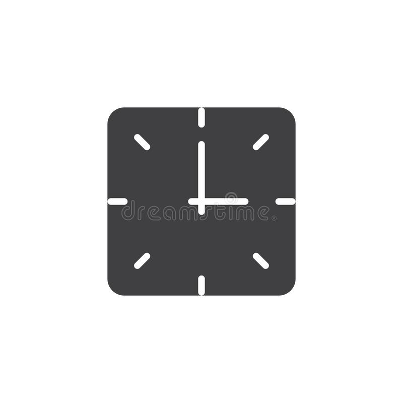Square clock vector icon stock illustration