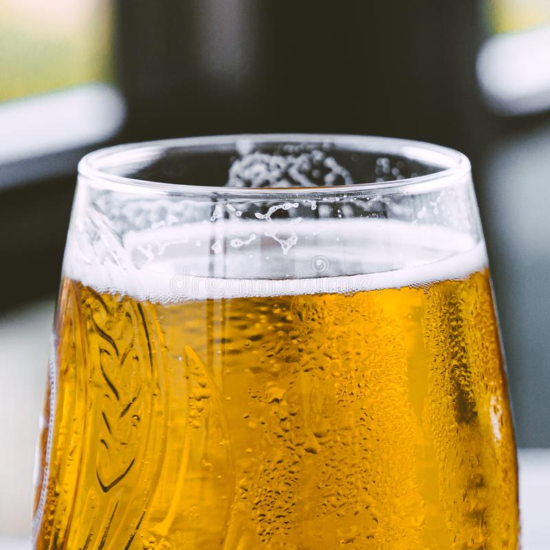 Square closeup photo of glass with golden fresh beer with foam. stock photos