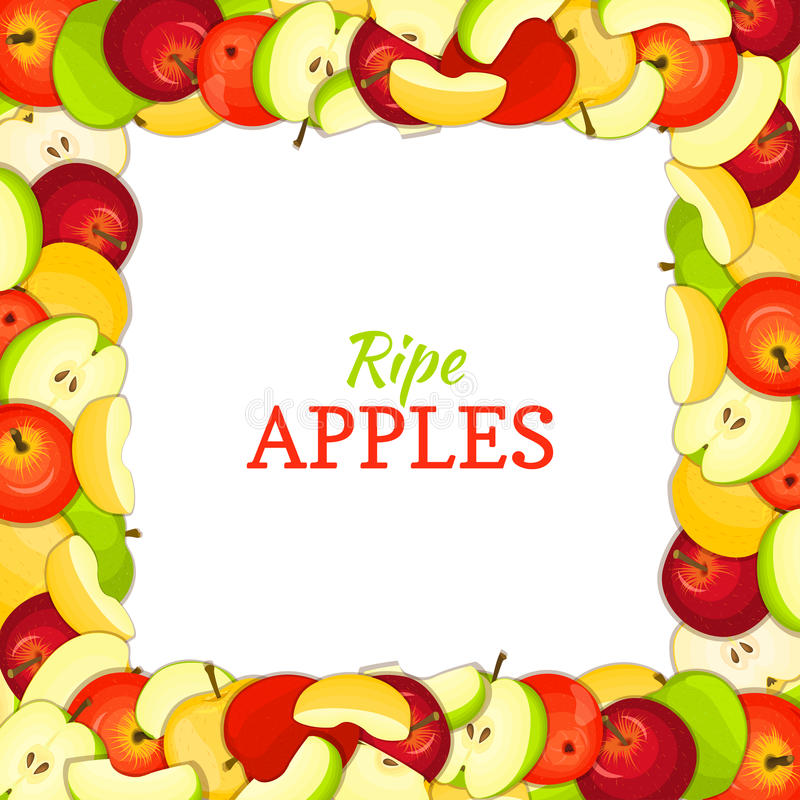 Square colored frame composed of delicious juicy apple fruit. Vector card illustration. Rectangle apples . Ripe fresh royalty free illustration