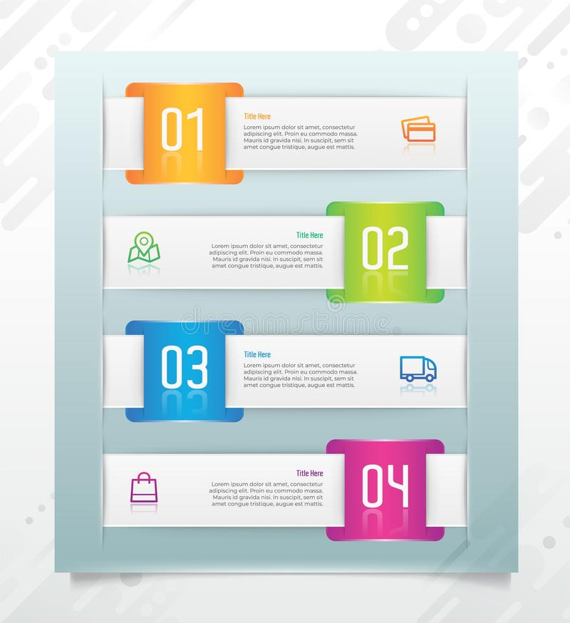 Square colorful business step infographic vector design with paper effect concept for finance corporate can be used for stock illustration