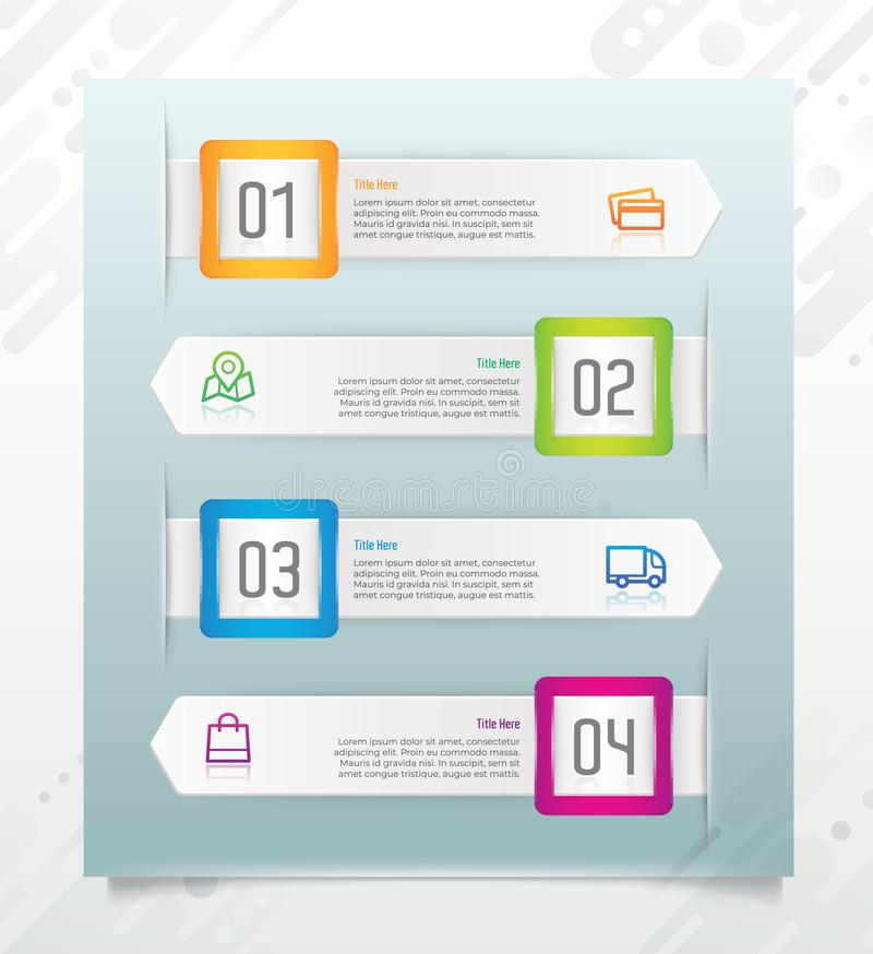 Square colorful business step infographic vector design with paper effect concept for finance corporate can be used for royalty free illustration