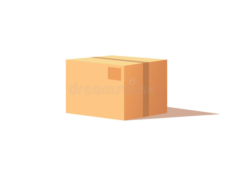 Carton Package with Adhesive Tape Icon Vector. Square container made of cardboard for product and items transportation and safe storage. Carton package box with stock illustration