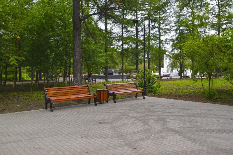 Square corner on Leningradskaya Street, Murmansk royalty free stock image