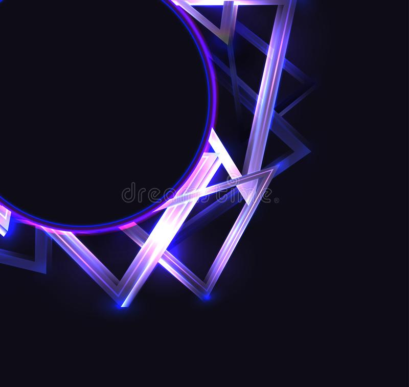 Square cover with round frame with abstract neon triangles and glister on dark background and place for text. Vector template vector illustration