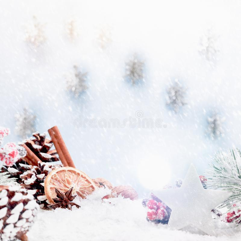 Christmas snow square crop banner stock image