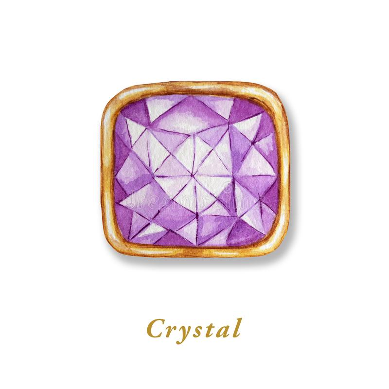 Square crystal in a gold frame. Hand drawn watercolor diamond. Isolated luxury object on white background. Purple royalty free illustration