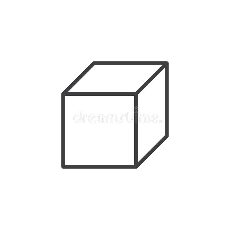 Square cube geometrical figure outline icon. Linear style sign for mobile concept and web design. Cube geometric shape simple line vector icon. Symbol, logo royalty free illustration