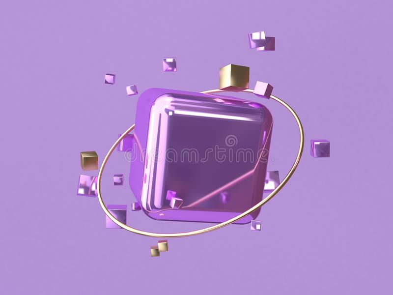 Square/cube shape glossy purple metallic gold circle 3d rendering abstract background vector illustration