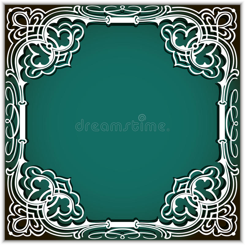 Square cutout paper frame with lace corner ornament royalty free illustration