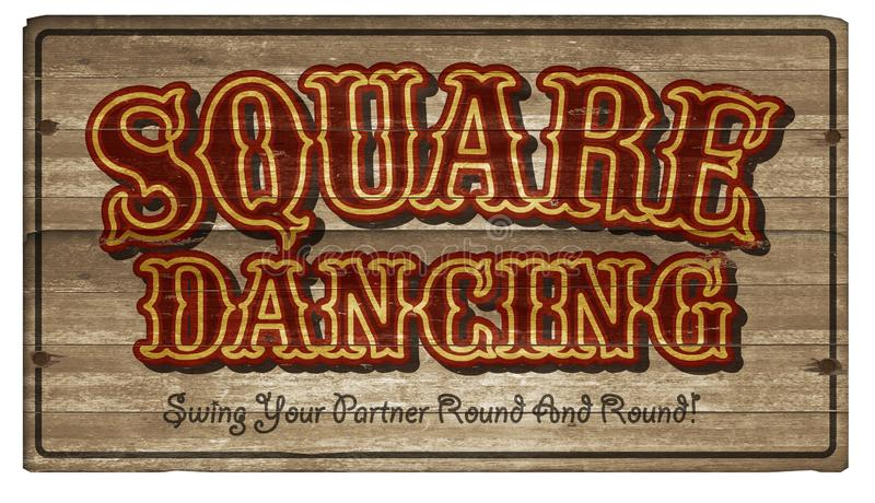 Square Dance Dancing Wood Sign Art Announcement stock photography