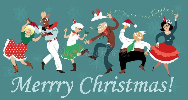 Square dance de la Navidad stock de ilustración
