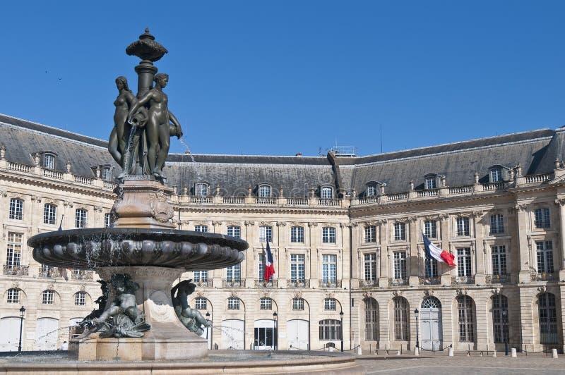 Square de la Bourse au Bordeaux, France image stock