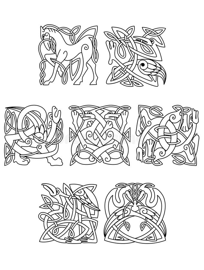 Square decorative celtic motifs of animals and royalty free illustration