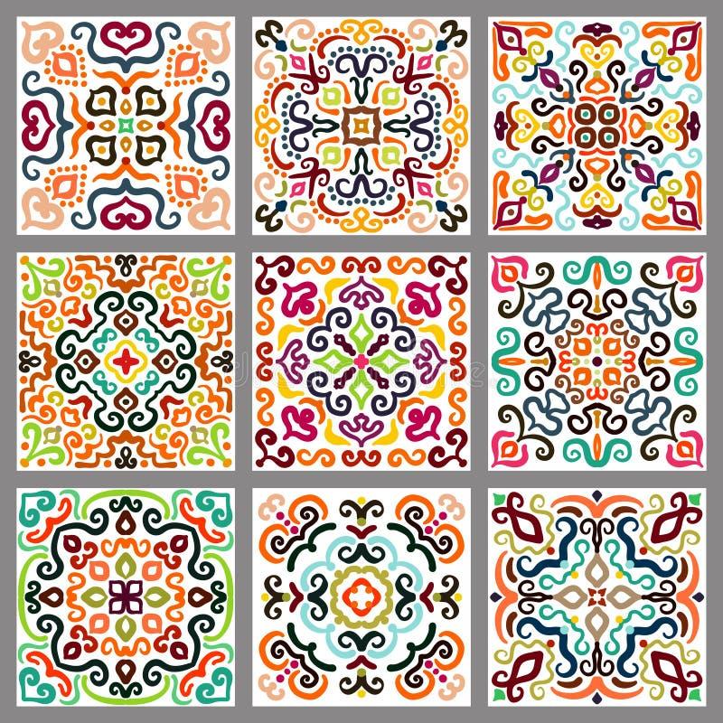 Square Decorative Tiles Set vector illustration