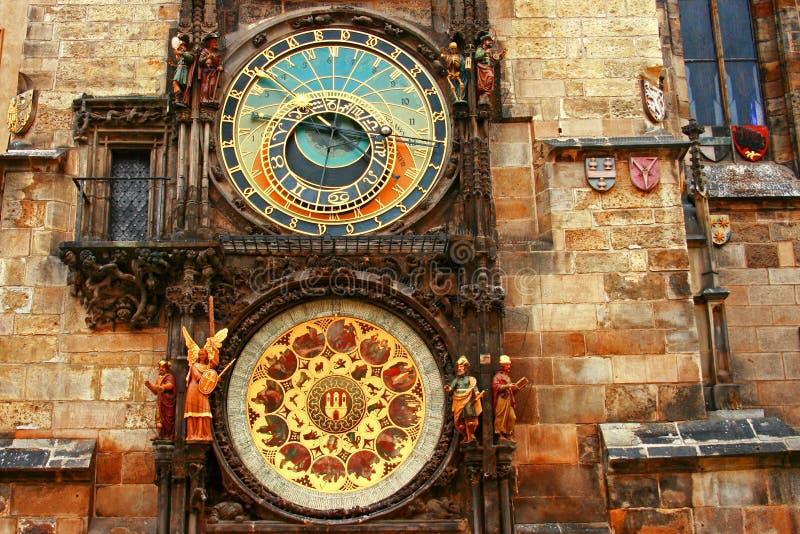 square den tjeckiska gammala praha för den astronomiska klockan republiken townen fotografering för bildbyråer