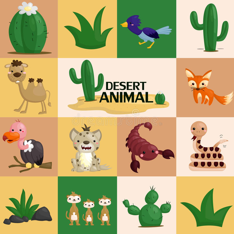 Square desert animal vector. An animal that live in the desert with square background stock illustration