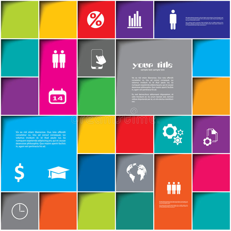 Square design with color rectangles and internet icons vector illustration