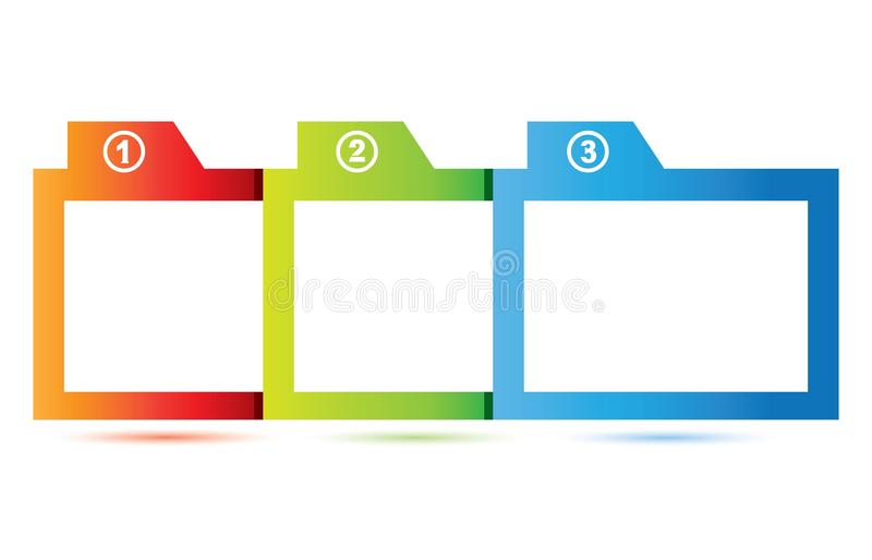 Square diagram. Square frame diagram for three topic template use vector illustration