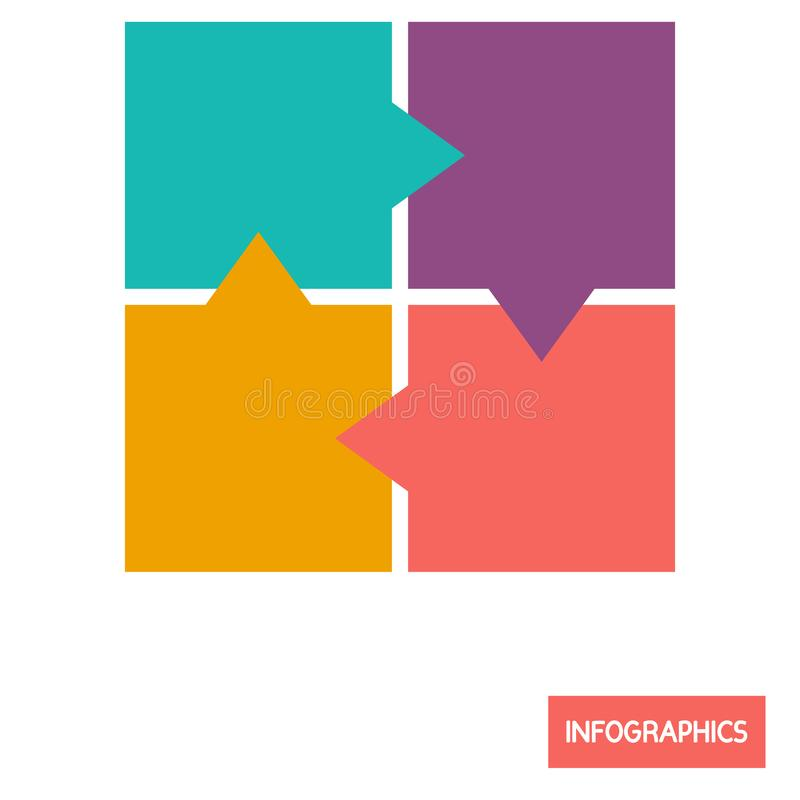 Square diagramm infographic element color flat icon. For web and mobile design stock illustration