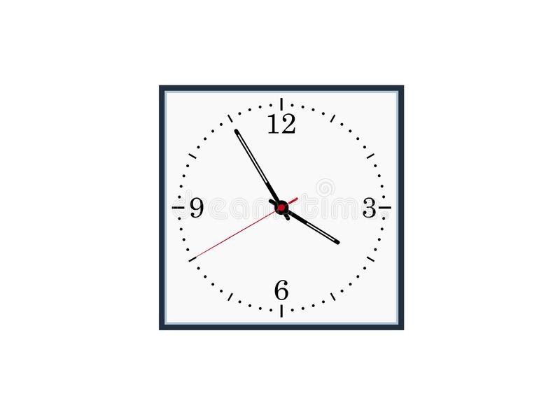 Square dial clock isolated vector image royalty free illustration