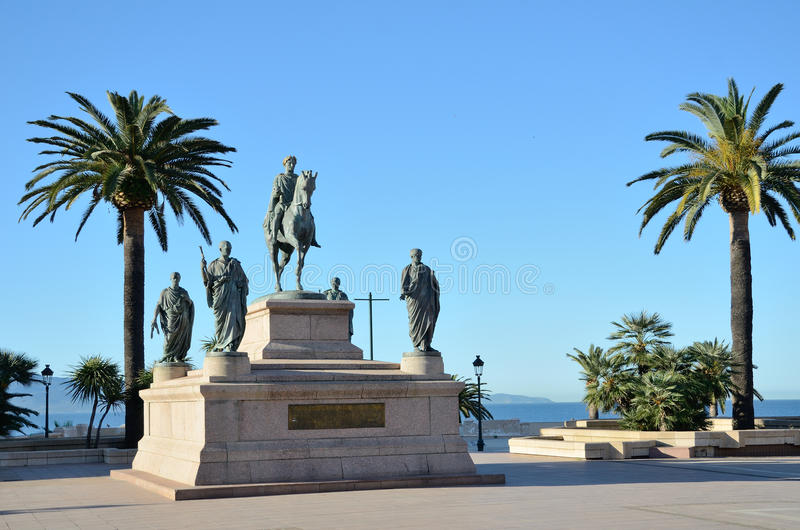 Square diamond in the Corsican town Ajaccio. The monument dedicated to Napoleon and his four brothers is in the Place De Gaulle. It is nicknamed `the inkwell` in royalty free stock photo