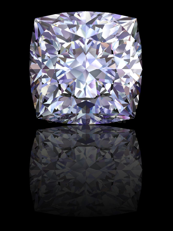 Square diamond on glossy black background stock photos