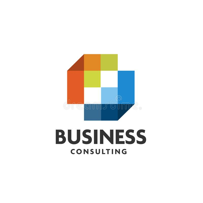 Square digital pixel logo design vector. Pixel square technology logo royalty free illustration