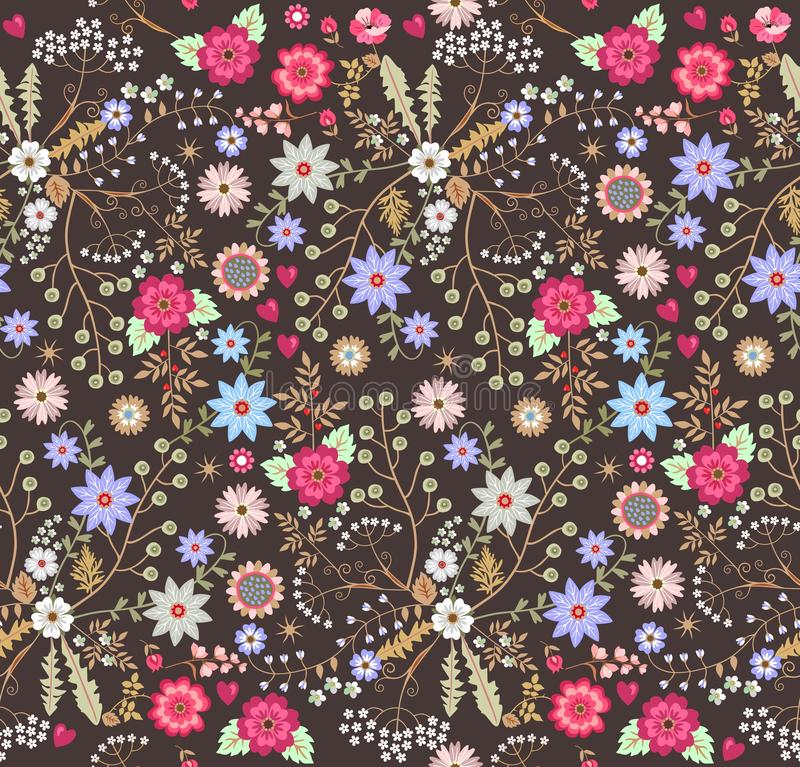Square ditsy seamless floral pattern with fantasy flowers in folk style. Vector illustration. Print for fabric, gift wrapper, tile. Wallpaper. Vector summer vector illustration