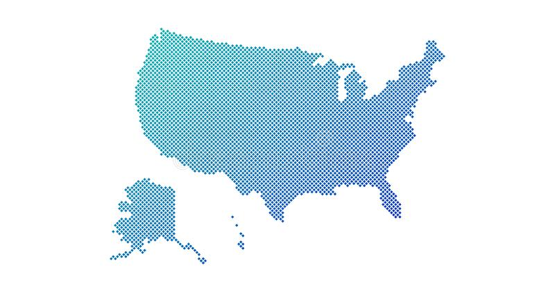 Square Dotted gradient USA map for backgrounds, brochures web. vector illustration isolated on white background. Square Dotted gradient USA map for backgrounds vector illustration