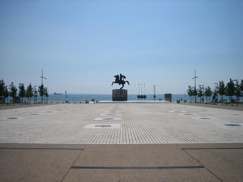 Square in the downtown of the Thessaloniki. Monument to Alexander the Great on the coast of Thessaloniki.The greatest military leader and conqueror of the royalty free stock photography