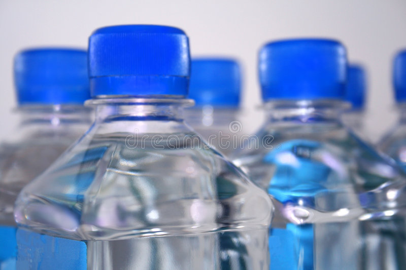 Square Drinking Water Bottles Royalty Free Stock Photos