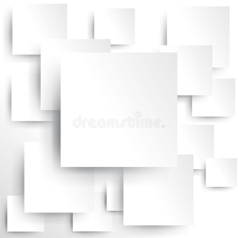 Square element on white paper with shadow (vector)
